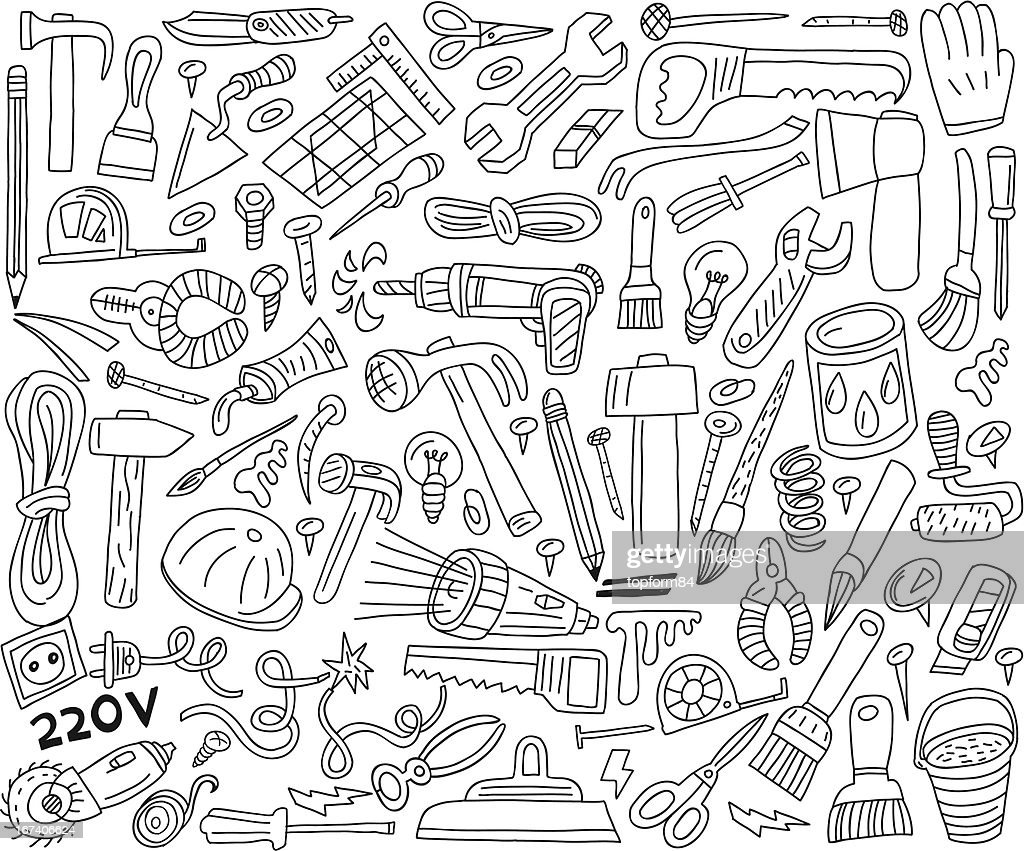 working tools - doodles collection : Vector Art