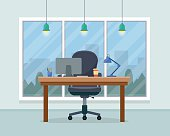 Workplace in office. Cabinet with workspace with table and computer with big window. Big boss office. Flat style vector illustration.