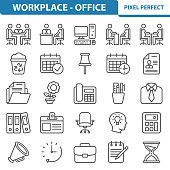 Professional, pixel perfect icons depicting various office, workplace and job concepts.