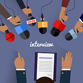 Workspace interview design flat. Job interview, tv interview, interview microphone, business workplace, office table, desk and businessman employment illustration