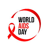 World AIDS day red ribbon icon for 1 December HIV and AIDS awareness banner or poster. Vector red ribbon symbol or emblem badge on white background