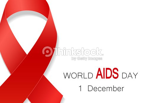 World Aids Day Symbol Realistic Red Ribbon 1 December World Aids Day