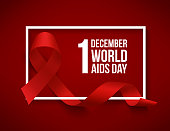 Realistic red ribbon, world aids day symbol, 1 december, vector illustration