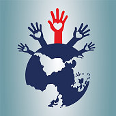 World and human rights volunteers.Vector illustration