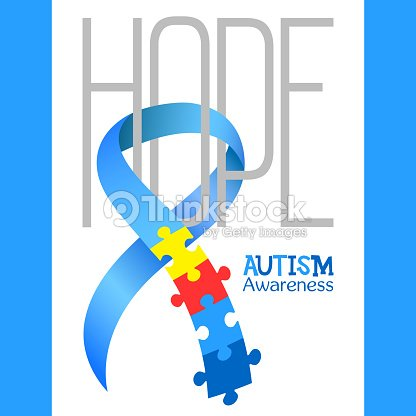 World Autism Awareness Day Blue Ribbon With Colorful Puzzles Vector Background Hope Symbol Of Medical Flat Illustration Health Care