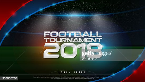 2018 world championship football tournament cup on stadium background. soccer icon,   broadcast graphic template : Arte vetorial