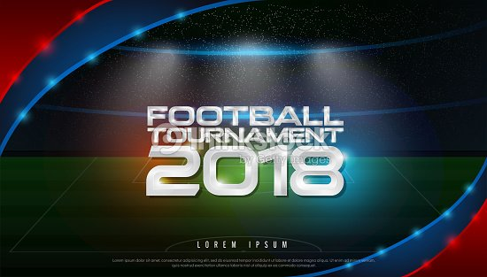 2018 world championship football tournament cup on stadium background. soccer icon,   broadcast graphic template : stock vector