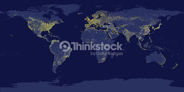World City Lights Map Night Earth View From Space Vector