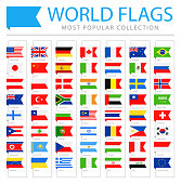 World Flags - Vector Bookmark Label Tag Flat Icons - Most Popular