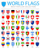 World Flags - Vector Shield Flat Icons - Most Popular