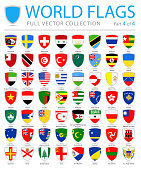 World Flags - Vector Shield Flat Icons - Part 4 of 4