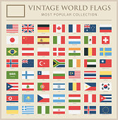 World Flags - Vector Vintage Flat Icons - Most Popular