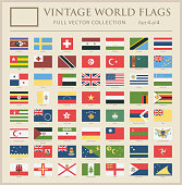 World Flags - Vector Vintage Flat Icons - Part 4 of 4