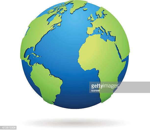 World globe blue and green on white background