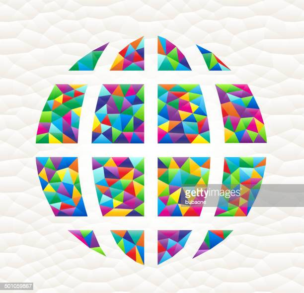World Globe on Colorful Mosaic with Triangles