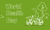 World Health Day Banner With Man Riding Bicycle Sketch Poster Design Vector Illustration