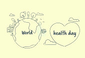World Health Day Banner With Sketch Earth And Heart Shape On White Background Vector Illustration