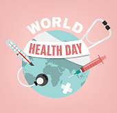 World health day concept. 7 April 2018. Medicine and healthcare image. Editable vector illustration in pink, blue and grey colors isolated on a light background.