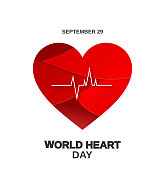 World Heart Day poster with paper cut heart, September 29. Vector illustration. EPS10