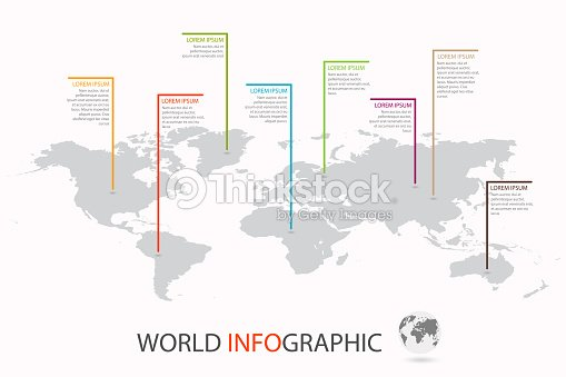 World infographic template world map with marker on each continent world infographic template world map with marker on each continent vector art gumiabroncs