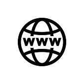 World internet on grid vector icon