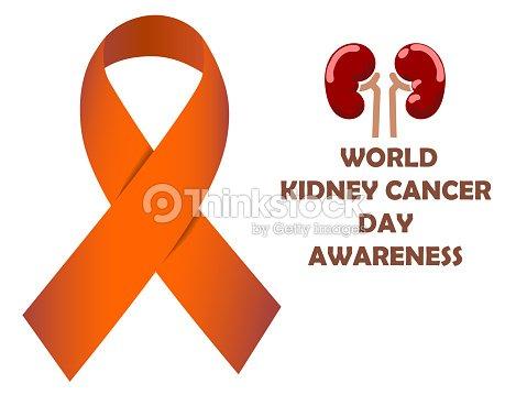 world kidney cancer day orange awareness ribbon vector illustration