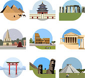 World landmarks flat icon set. Vector travel illustration. Monument sign. Egypt pyramid, Temple of Heaven, Stonehenge, Mahabodhi, Colosseum, Italy Pantheon torii gate Moai Mesoamerican pyramids