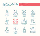 Set of modern vector plain line design icons and pictograms of world famous landmarks. London bridge, Cologne Cahedral, Holland windmill, Russian church, Eiffel tower, Pisa tower, Taj Mahal, Easter is