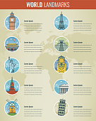 World landmarks Infographics set. Travel and Tourism concept. Vector illustration