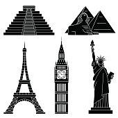 World Landmarks, Eiffel Tower, Statue of liberty,Chichen Itza,Big Ben, Sphinx. Vector flat icons set.