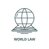 World law vector line icon, outline concept, linear sign