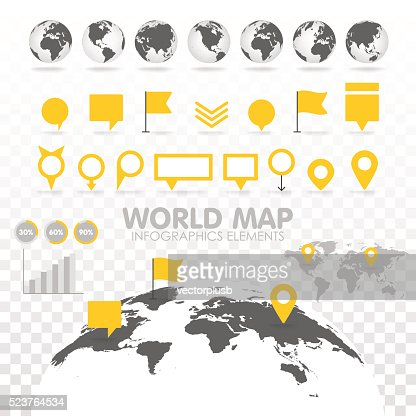 World map 3D with set of infographics elements. : Vector Art