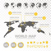 World map 3D with set of infographics elements. Design information, business graph and chart. Vector illustration