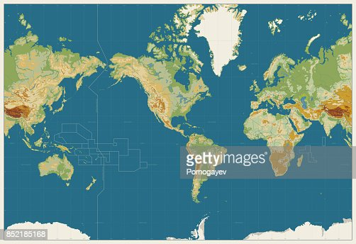 World Map Americas Centered Physical Map. Vintage Colors. No bathymetry and names : stock vector