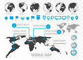 World map and 3D globe set with infographics elements. Design information, business graph and chart. Vector illustration