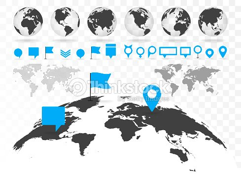 World map and 3D globe set with infographics elements. : stock vector