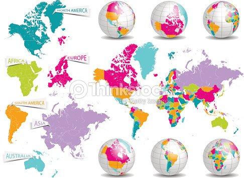 world map and earth globe vector set vector art