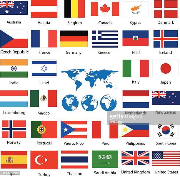 Monde carte et drapeaux