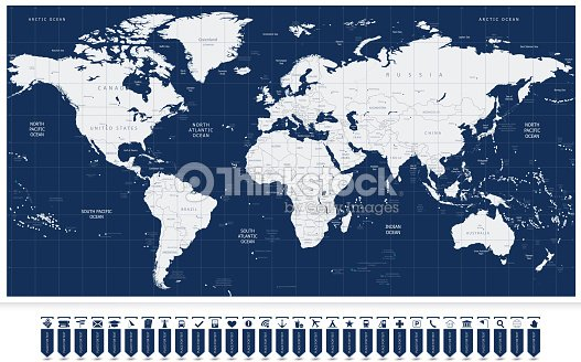 Navigation World Map.World Map And Navigation Map Labels Vector Art Thinkstock