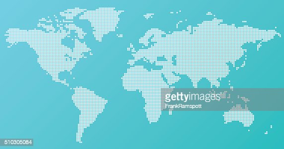 World Map Basic Square Pattern Turquoise Vector Art Getty Images - Basic world map