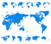 World Map Blue and Globes - Asia in Center - vector