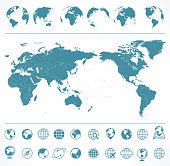 World Map Blue Green and Globes - Asia in Center - vector