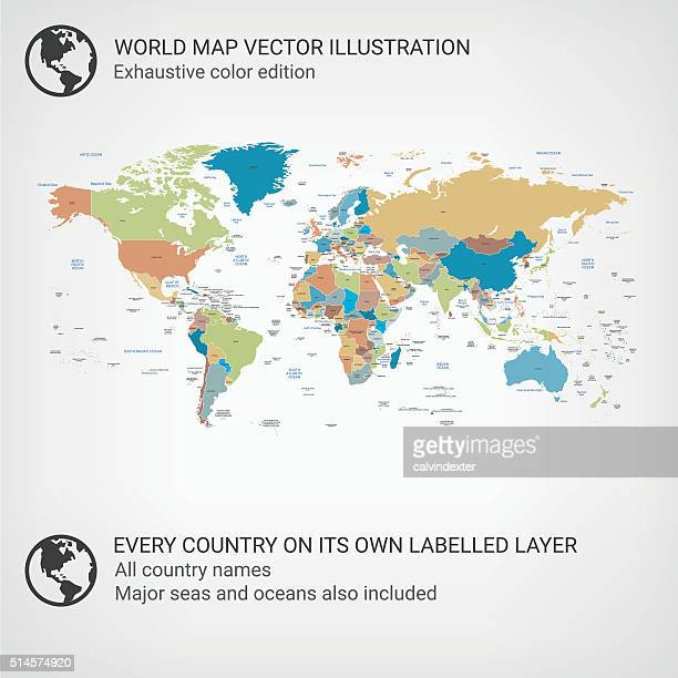 Weltkarte Farbe Ausgabe
