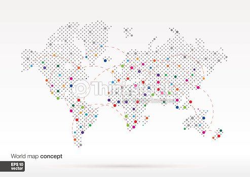 World map concept with dots on big cities connected by lines vector world map concept with dots on big cities connected by lines vector art publicscrutiny Gallery