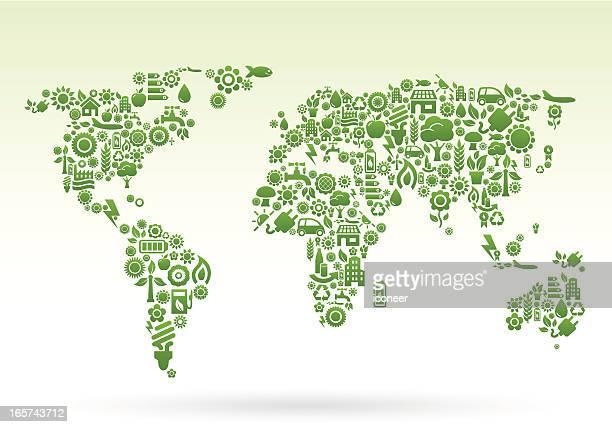 world map ecology icons