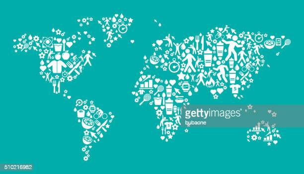 World Map Fitness and Diet Vector Button Pattern