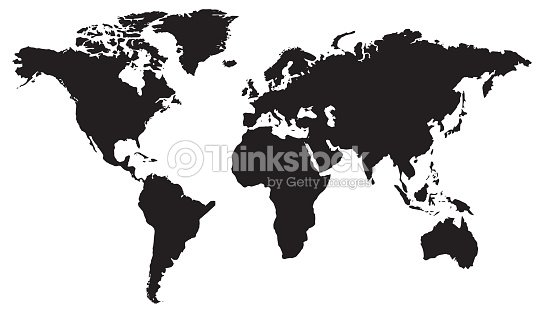World Map Flat Design In Black And White Vector Art Thinkstock - World flat map