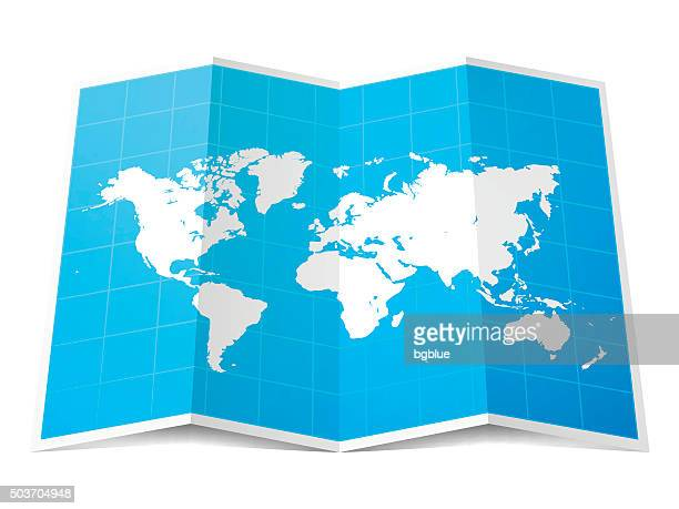 World Map folded, isolated on white Background