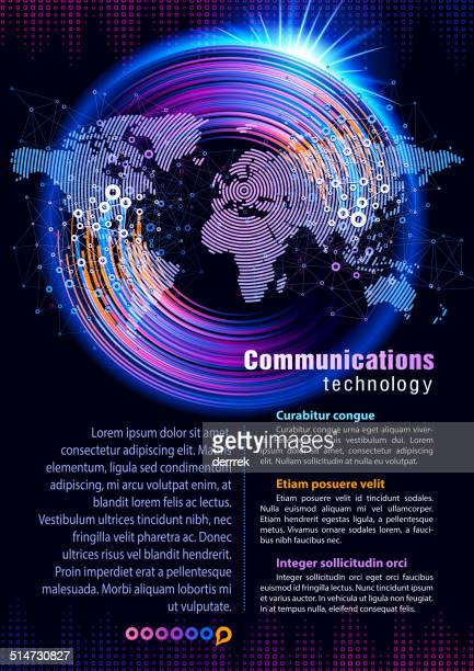 World map from circle, center in Europe Communication technology