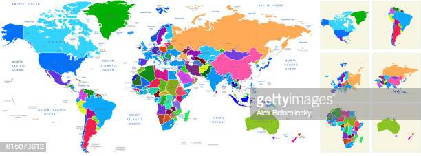 World Map Geography Deatiled Vector Illustration Colorful Background
